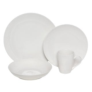 Melange Coupe White 16-piece Premium Dinnerware Place Setting
