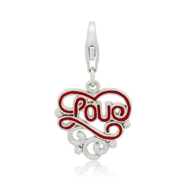 Gioelli Sterling Silver Red Enamel 'LOVE' Heart Charm