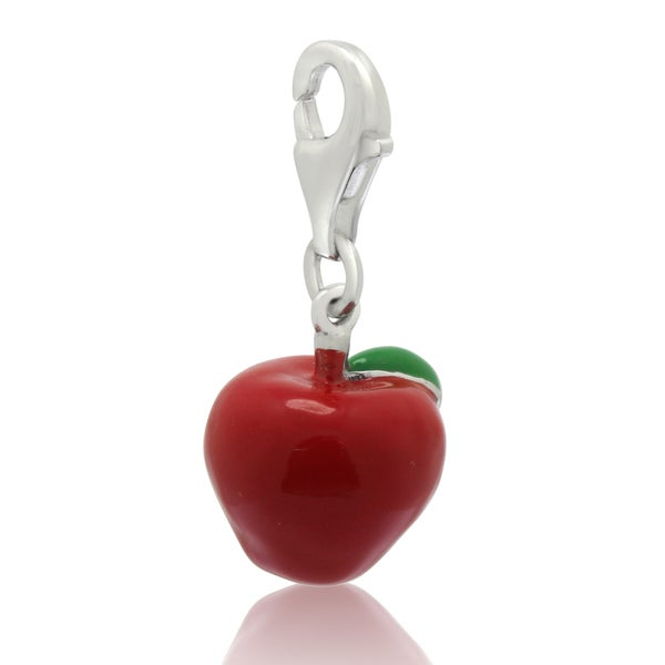 Gioelli Sterling Silver Red Enamel Apple Charm