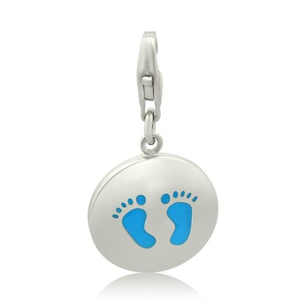 Gioelli Sterling Silver Blue Enamel Foot Print Charm