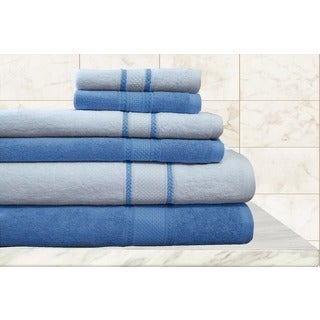 Quick Dry 100-percent Egyptian Cotton Striped Towels (Set of 6)