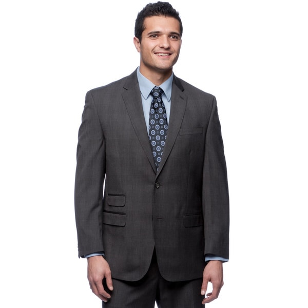 Sean John Men's Subtle Checkered Grey Suit