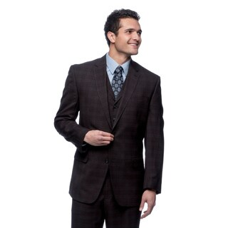 Sean John Men's Plaid Navy Suit