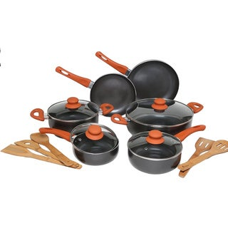 Melange Orange Nonstick Scratch-resistant 15-piece Cookware Set