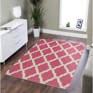 Pink Collection Red Contemporary Moroccan Trellis Design Area Rug (3'3 x 5')