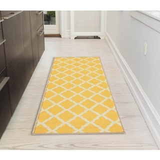 Pink Collection Yellow Contemporary Moroccan Trellis Design Roll Runner Rug (1'8 x 4'11)