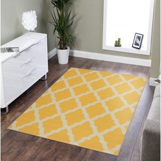 Pink Collection Yellow Contemporary Moroccan Trellis Design Area Rug (3'3 x 5')