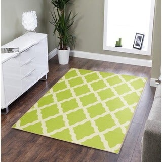 Pink Collection Green Contemporary Moroccan Trellis Design Area Rug (3'3 x 5')