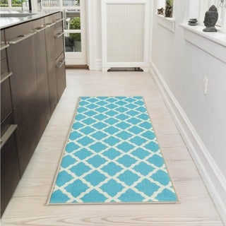 Pink Collection Blue Contemporary Moroccan Trellis Design Roll Runner Rug (1'8 x 4'11)