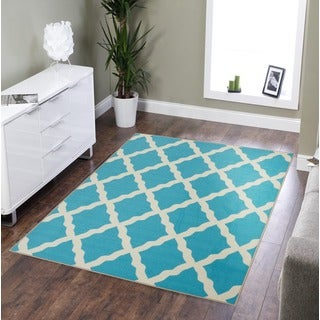 Pink Collection Blue Contemporary Moroccan Trellis Design Area Rug (3'3 x 5')