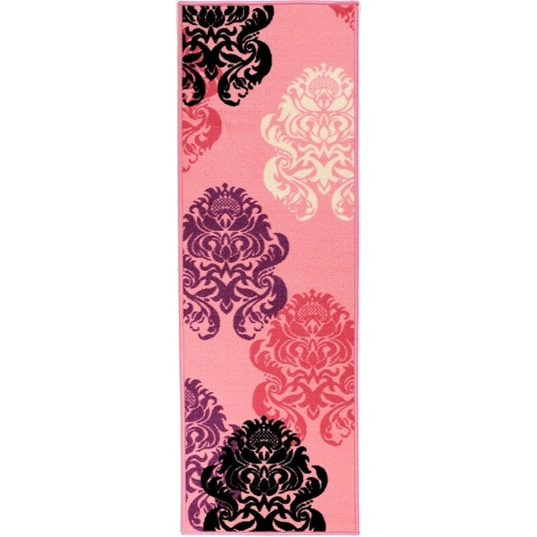 Pink Collection Pink Contemporary Damask Design Roll Runner Rug (1'8 x 4'11)
