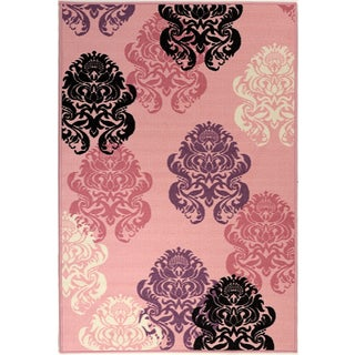 Pink Collection Pink Contemporary Damask Design Area Rug (3'3 x 5')
