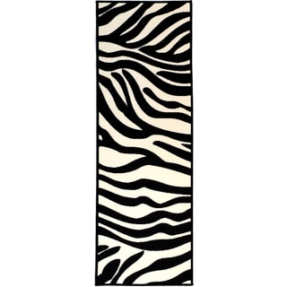 Pink Collection White, Black Animal Print Zebra Design Roll Runner Rug (1'8 x 4'11)