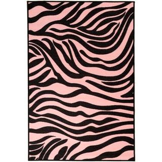 Pink Collection Pink, Black Animal Print Zebra Design Area Rug (3'3 x 5')
