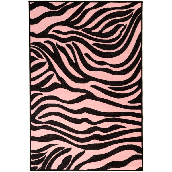 Pink Collection Pink, Black Animal Print Zebra Design Area Rug (3'3 x 5')