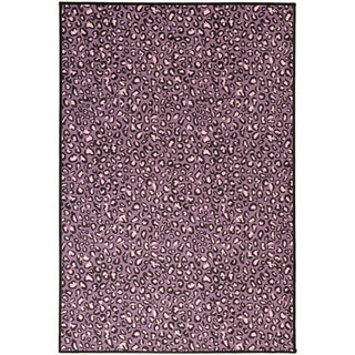 Pink Collection Purple/ Pink Leopard Design Area Rug (3'3 x 5'0)