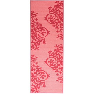 Pink Collection Pink, Hot Pink Contemporary Tattoo Scrolls Design Roll Runner Rug (1'8 x 4'11)