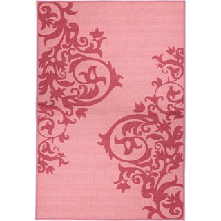 Pink Collection Pink, Hot Pink Contemporary Tattoo Scrolls Design Area Rug (3'3 x 5')