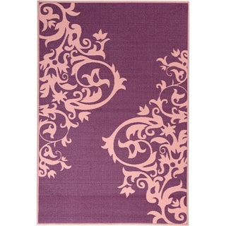 Pink Collection Purple, Pink Contemporary Scrolls Design Area Rug (3'3 x 5')