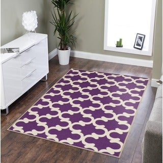 Pink Collection Purple Contemporary Moroccan Trellis Design Area Rug (3'3 x 5')