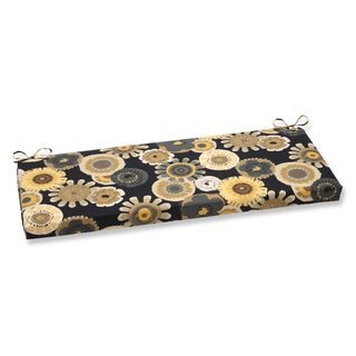 Pillow Perfect Crosby Black/ Yellow Floral Design Bench Cushion