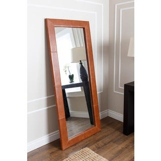 ABBYSON LIVING Delano Camel Brown Leather Floor Mirror