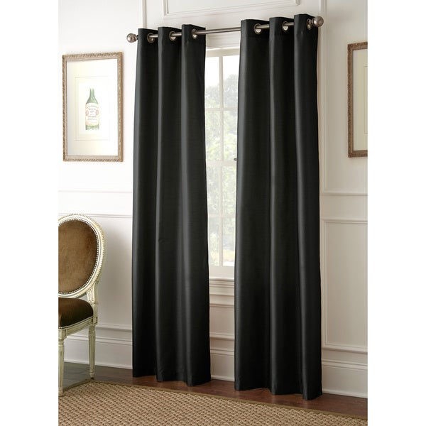 Faux Silk 84-inch Blackout Curtain Panel Pair (As Is Item)