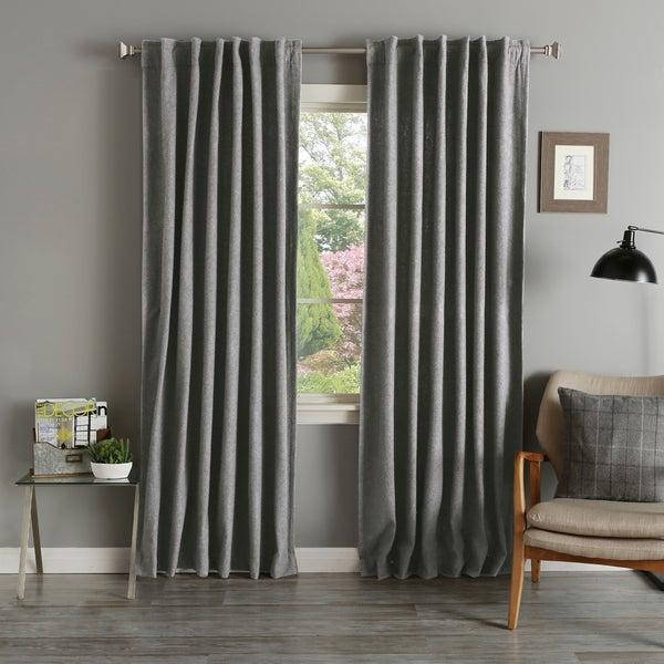 Lights Out Grey Wool 84-inch Curtain Panel Pair