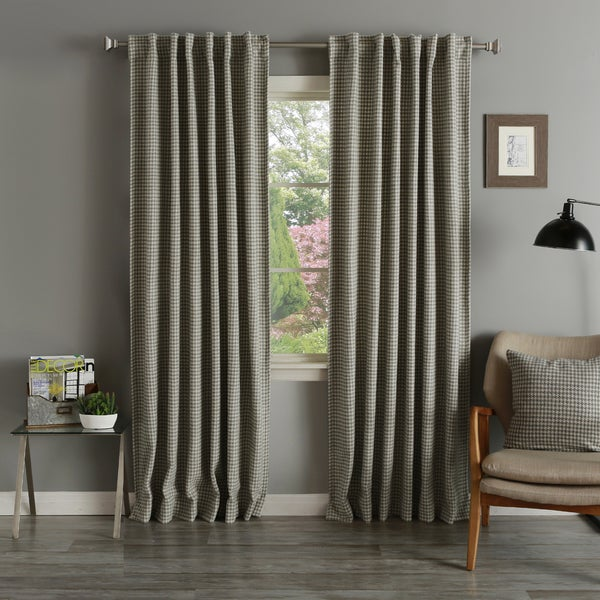 Lights Out Grey Houndstooth Wool 84-inch Curtain Panel Pair
