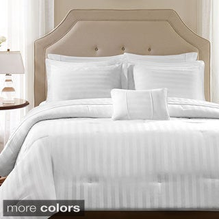 Madison Park 300TC Dobby Stripe Cotton 4-piece Duvet Cover Set
