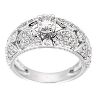 18k White Gold 1ct TDW Diamond Pave Ring (J-K, VS1-VS2)