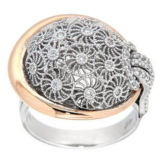 18k Two-tone Gold 3/8ct TDW Diamond Filigree Ring (G-H, VS1-VS2)