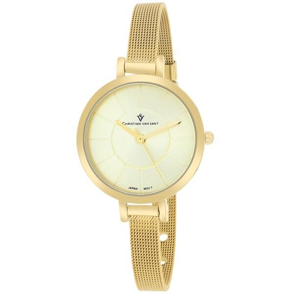 Christian Van Sant CV6613 Women's Skinny Round Gold-tone Bracelet Watch