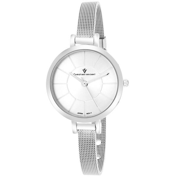 Christian Van Sant CV6610 Women's Skinny Round Silver Bracelet Watch