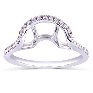 Annello 14k White Gold 1/5ct TDW Curved Diamond Wedding Band (H-I, I1-I2)