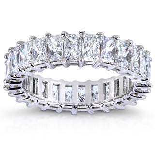 Annello 14k White Gold 5 1/2ct TDW Princess Baguette Diamond Eternity Band (G-H, VS1-VS2) with Bonus Item