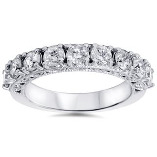 14k White Gold 1 1/2ct TDW Vintage Diamond Wedding Band (I-J, I2-I3)