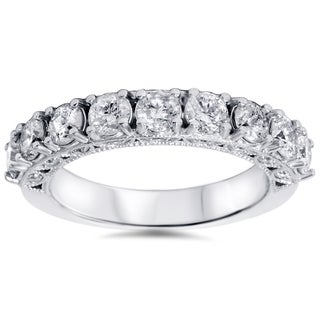 Bliss 14k White Gold 1 1/2ct TDW Vintage Diamond Wedding Band (H-I, I1-I2)