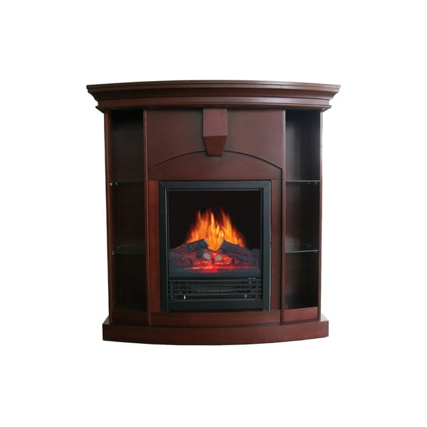 Wessex Medium Walnut Corner Curio Fireplace