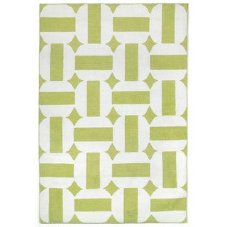 Hand-woven Stripe In Circle Green Outdoor Rug (5' x 7'6)