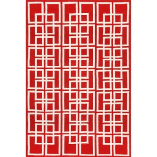 Geometric Red Outdoor Rug (5' x 7'6)