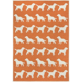 Dog Parade Orange Outdoor Rug (5' x 7'6)