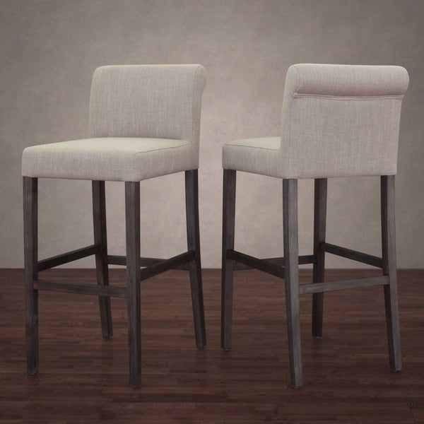 Cosmopolitan Beige Linen Barstool Set Of 2 Overstock