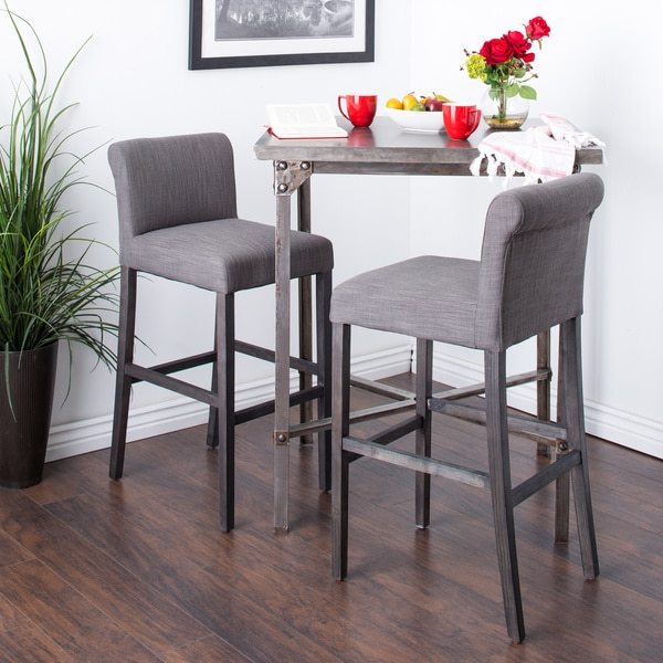 Cosmopolitan Smoke Linen Barstools (Set of 2)