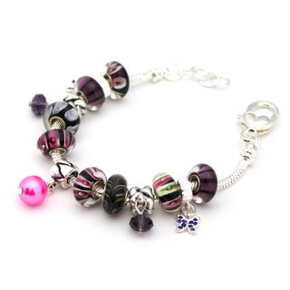 Bleek2Sheek Silvertone 'Black Pearl' European Charm Bracelet