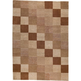 Hand-knotted Chec Brown/ Beige New Zealand Wool Rug (3'x 5'4)