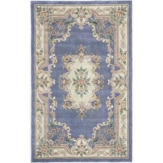 Heritage Blue Hand-crafted Wool Area Rug (5' x 8')