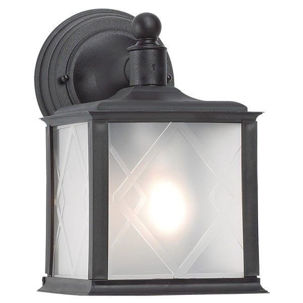 One Light Black Finish Frosted Hatch Pattern Lens Outdoor Wall Lantern