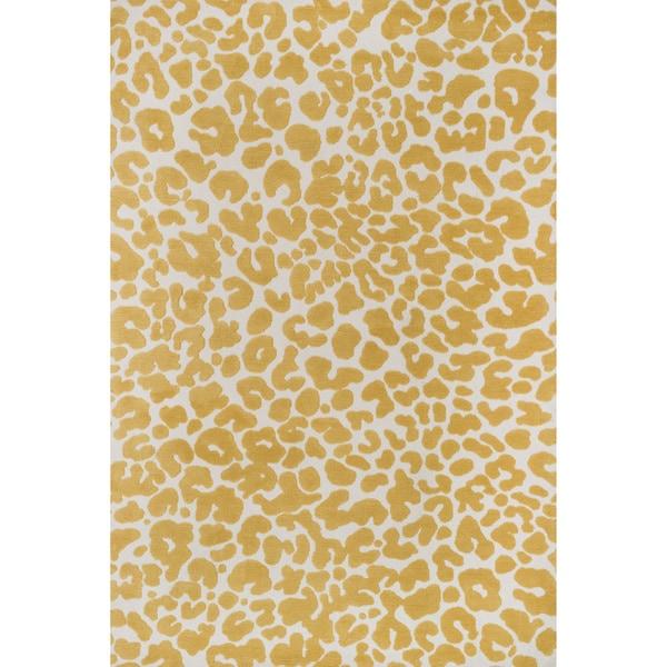 Aaron Ivory/ Gold Leopard Print Microfiber Woven Rug (7'6 x 9'6)