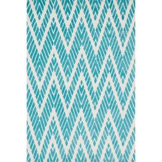 Aaron Aqua Chevron Microfiber Woven Rug (3'6 x 5'6)